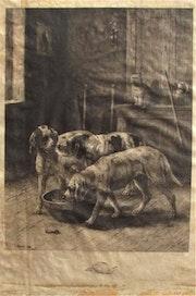 (Charles)-Louis kratké : Les Animaux domestiques, trois chiens & un chat, 1891.. Historien d'art, Archéologue; Chercheur Free-L.
