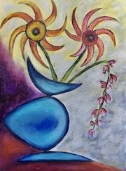 Le vase bleu canard. Dominique Mansour