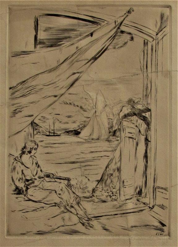Herbert lespinasse, (1884-1972) : Rêverie près de la mer.. Herbert Lespinasse, (1884-1972) : Rêverie Près De La Mer. Historien d'art, Archéologue; Chercheur Free-L.