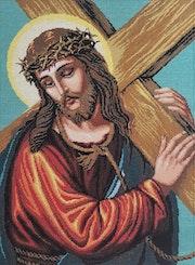 Jesus with the cross - Christian icons cross / religious handmade needlepoint. Anavim Adumim