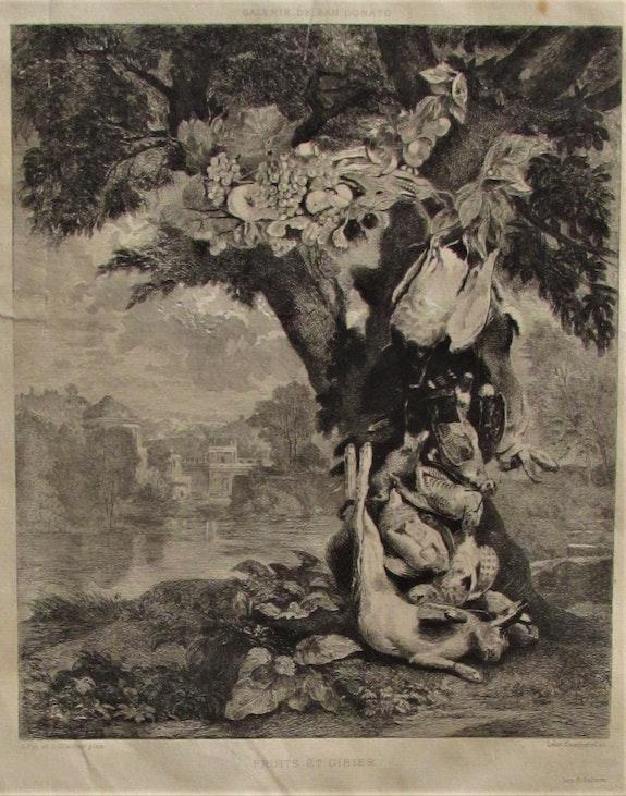 Léon Gaucherel, d'après J. Fyt & J. Glauber, Retour de chasse & de cueillette.. Léon Gaucherel, d'après J. Fyt & J. Glauber, Retour De Chasse & De Cueillette. Historien d'art, Archéologue; Chercheur Free-L.