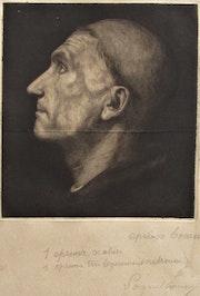 (Frédéric) Auguste Laguillermie (1841-1939), épreuve d'un profil de moine.. Historien d'art, Archéologue; Chercheur Free-L.