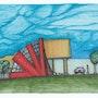 «Casa Levantándose» Diseño arquitectónico, técnica mixta, tinta y marcadores. Leon Xlll