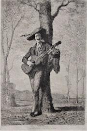 Augustin Feyen-Perrin (1826-1888) : Le guitariste.. Historien d'art, Archéologue; Chercheur Free-L.