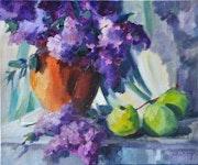 Ramo de lilas y manzanas verdes..