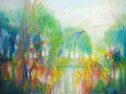 River Spell is a large oil painting of a kingfisher by a river. Gill Bustamante - Artist