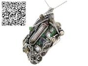 Upcycled Vintage Circuit Board & Vaccum Tube Cyberpunk/Steampunk Fusion Pendant. Heather Jordan Jewelry