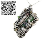 Upcycled Vintage Circuit Board & Vaccum Tube Cyberpunk/Steampunk Fusion Pendant. Heather Jordan Jewelry