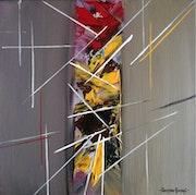 Traits, rouge et jaune.