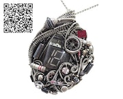 Nixie Tube Steampunk/Cyberpunk Fusion Pendant with Upcycled Watch & Electronic p.