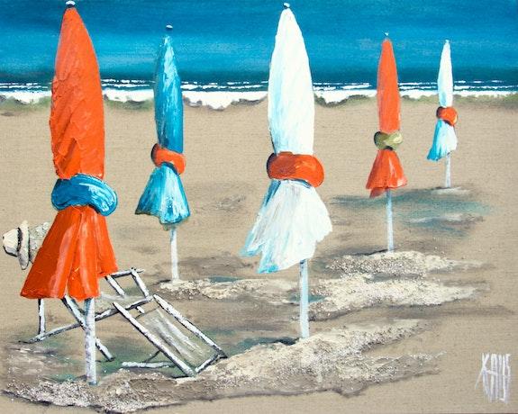 Am Strand in Orange. Michèle Kaus Galerie Arnaud