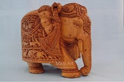 Big sandalwoood Very Fine Detailed Hand Carved Elephant Statue.