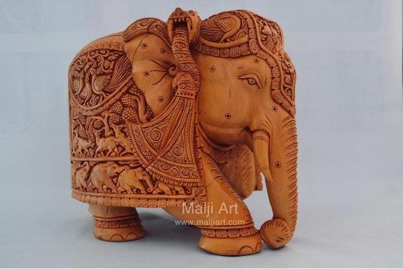 Big sandalwoood Very Fine Detailed Hand Carved Elephant Statue. Mohit Jangid Mohit Jangid
