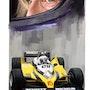 Dessin du pilote de Formule 1 Alain Prost. P Fort