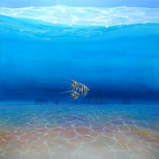 Escape to the Big Blue Sea is a large blue under the sea oil painting with three. Gill Bustamante - Artist