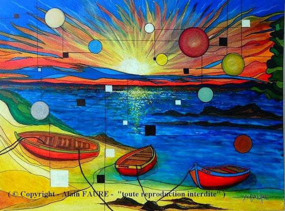 Trois barques. Alain Faure Alain Faure En Peinture