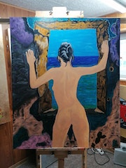 Naked woman in the window frame. Acrylwolle