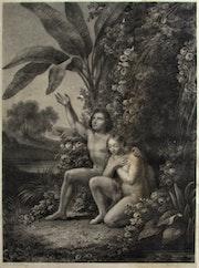 Geille & Lalaisse, d'après Lemercier : Adam & Eve au Paradis terrestre.. Historien d'art, Archéologue; Chercheur Free-L.