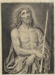 Anonyme : Le Christ au roseau. Dessin ancien d'interprétation. XVIIIe. Siècle.. Historien d'art, Archéologue; Chercheur Free-L.