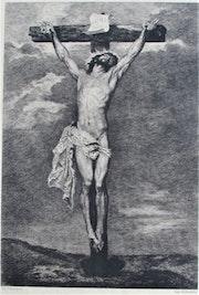 Charles Courtry (1846-1897) : Le Crhist en Croix, d'après Antoine Van Dyck.. Historien d'art, Archéologue; Chercheur Free-L.