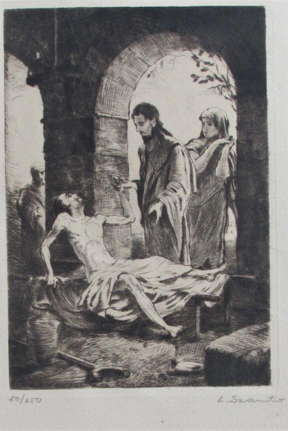 Louis Szanto (1889 - 1965) : Christ thaumaturge.. Louis Szanto (1889 - 1965) : Christ Thaumaturge. Historien d'art, Archéologue; Chercheur Free-L.