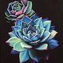 'Te invito a soñar… ', Pintura al óleo de plantas suculentas azules.