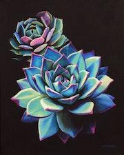 'Te invito a soñar… ', Pintura al óleo de plantas suculentas azules. Luverno Art
