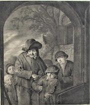 Cornélis Visscher (1629-1658) d'après Adriaen Van Ostade : les quémandeurs.