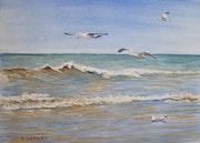 Mouettes planant au-dessus des vagues. Art Demo