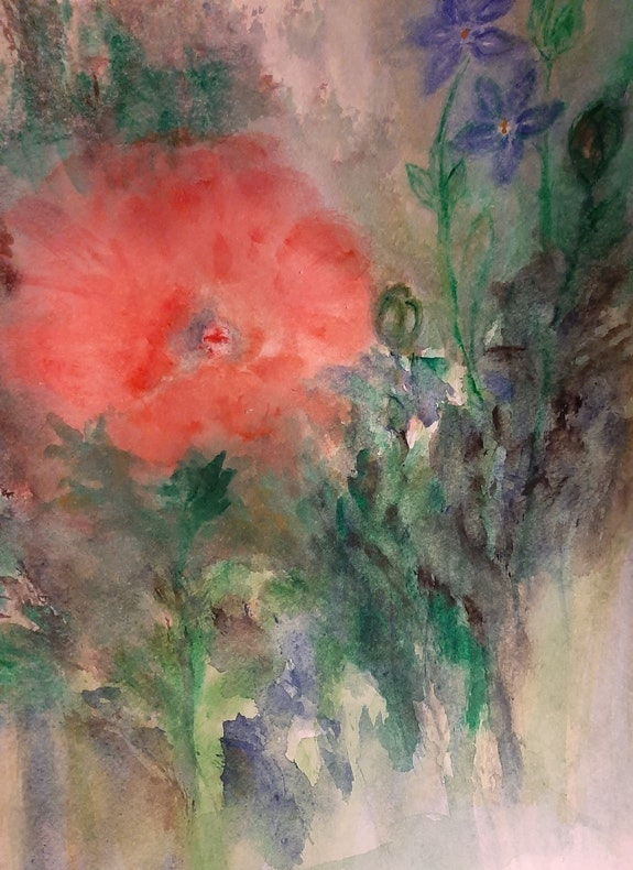 Poppies And perriwinkles. A. Cowley Ann Cowley