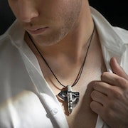 Atle Crystal Necklace with Silver Cap Limited Edition (Grey/Blue). Esculpture