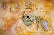 Carte d'un monde aux quatre vents.