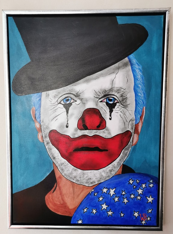 Trauriger Clown. Wolfgang Bröder Acrylwolle