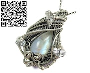 Rainbow Moonstone Wire-Wrapped Pendant with Herkimer Diamonds.