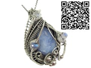 Blue Chalcedony Pendant with Rainbow Moonstone.