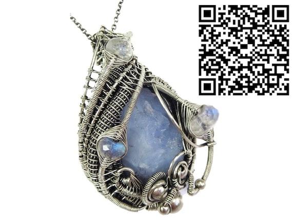 Blue Chalcedony Pendant with Rainbow Moonstone. Heather Jordan Heather Jordan Jewelry