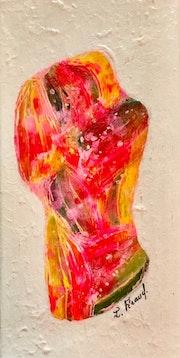 Peinture abstraite acrylique décorative Les amoureux. Florence Féraud-Aiglin