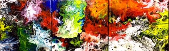 Peinture abstraite acrylique décorative Maïteka. Florence Féraud-Aiglin Florence Féraud-Aiglin