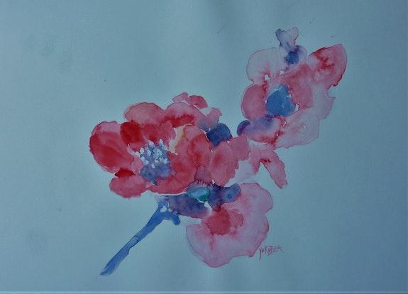 Aquarelle une branche de fleurs. Yokozaza Yokozaza