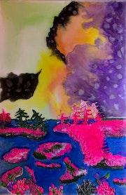 Peinture abstraite acrylique & résine décorative Canimbya.