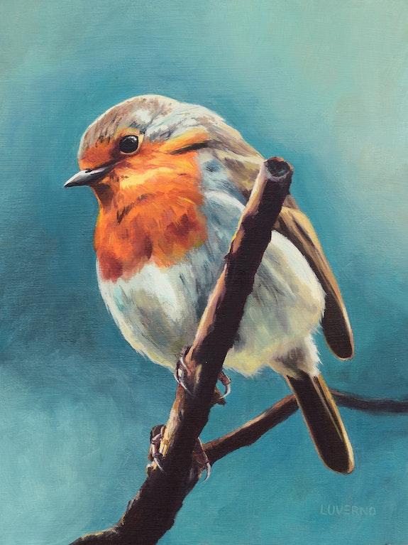 'Une pose chic', portrait d'oiseau robin peinture à l'huile. Luverno Art