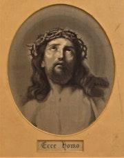 Anonyme : ecce homo sur tissu (d'après Le Guide ? ).. Historien d'art, Archéologue; Chercheur Free-L.