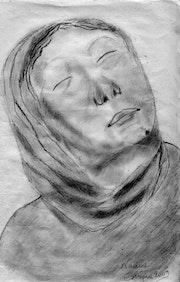 Portrait en monochrome de la Sainte Vierge.