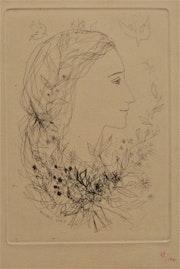 Michel. Ciry (1919-2018) : profil d'une jeune fille en fleurs. 1956..