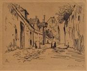 Morin-Jean (1877-1940) : voie urbaine pentue, barrée par deux bornes..