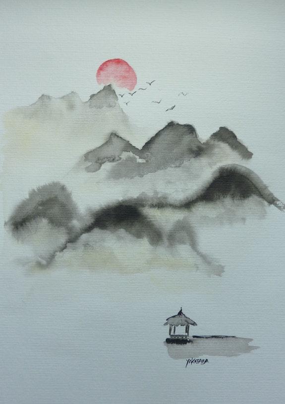 Encre de chine, paysage d'asie. Yokozaza Yokozaza