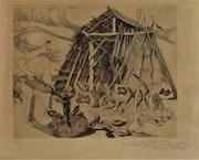 Claude. Hertenberger (1912-2002) : Charbonnier & sa cabane, vers 1955. Historien d'art, Archéologue; Chercheur Free-L.