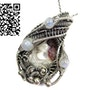 Mexican Crazy Lace Pendant with Rainbow Moonstone. Heather Jordan Jewelry