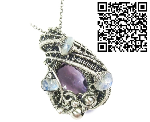 Pink Amethyst Pendant with Rainbow Moonstone. Heather Jordan Heather Jordan Jewelry