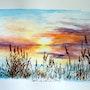 Coucher de soleil sur l'étang. Jacques Dortel